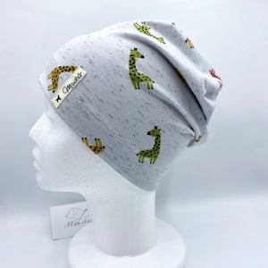 Mütze, KU 50 - 53  cm, Beanie, einlagig, Sommermütze, Giraffe, von Mausbär  - Handarbeit kaufen