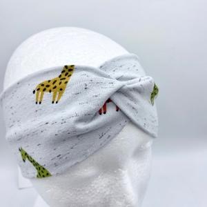 Stirnband, KU 50 - 53 cm, Haarband , Bandeau , Boho-Stirnband, Giraffen, von Mausbär  - Handarbeit kaufen