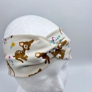 Stirnband, KU 54 -56 cm, Haarband , Bandeau , Boho-Stirnband, Rehkitz, von Mausbär  - Handarbeit kaufen