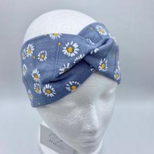 Stirnband, KU 54 -57 cm, Haarband , Bandeau , Boho-Stirnband, Gänseblümchen, von Mausbär - Handarbeit kaufen