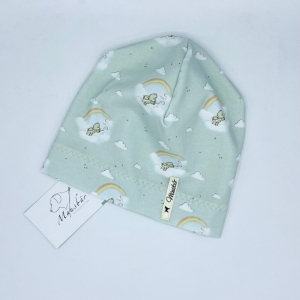 Mütze, KU 47 - 50  cm, Beanie, einlagig, Sommermütze, Glücksbärchi, von Mausbär    - Handarbeit kaufen
