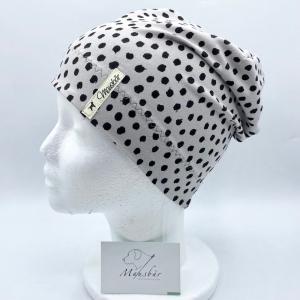 Beanie, KU 50 - 53 cm, Mütze, grau,  Tupfen, von Mausbär   - Handarbeit kaufen