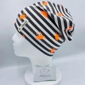 Beanie, KU 50 - 53 cm, Mütze, grau weiß gestreift, Krebs, von Mausbär    - Handarbeit kaufen