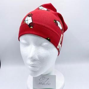 Beanie, KU 50 - 53 cm, Mütze, rot, Polizei, von Mausbär    - Handarbeit kaufen