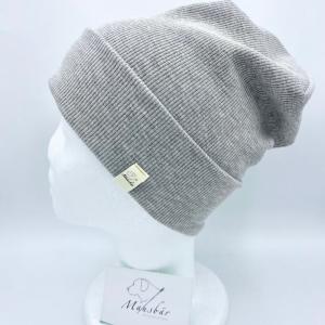 Beanie, KU 49 - 53 cm, Hipster Mütze, Hipster Beanie, grau, von Mausbär   - Handarbeit kaufen