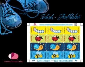 24 Schuhaufkleber | Kleine Tierchen - blau gelb + Schutzfolie - personalisierbar | Namensaufkleber, Schuhsticker - Handarbeit kaufen