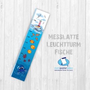 selbstklebende Messlatte | Leuchtturm - Fische | Wandtattoofolie, Kindermesslatte, Messleiste für Kinderzimmer, Wale - Handarbeit kaufen