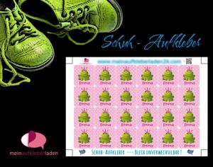 24 Schuhaufkleber | Frosch rosa + Schutzfolie - personalisierbar | Namensaufkleber, Schuhetiketten - Handarbeit kaufen