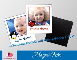 20 Fotomagnete - Polaroid   für Kinder - personaliserbar mit Foto und Wunschtext  - Handarbeit kaufen
