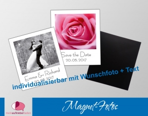 20 Fotomagnete - Polaroid | Gastgeschenke für Hochzeit - personaliserbar mit Foto und Wunschtext