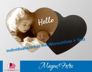 15 Fotomagnete - Herz | Geschenkidee zur Geburt - personaliserbar mit Foto und Wunschtext