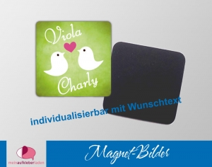 54 grüne Magnetbilder | Vögelchen mit Herz - Geschenke & Einladungen für Evente - Handarbeit kaufen