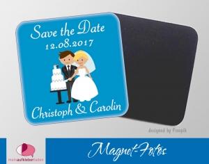 15 Magnetbilder | Save the Date, Brautpaar mit Hochzeitstorte - Handarbeit kaufen