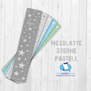 selbstklebende Messlatte | Sterne - pastell | Wandtattoo Kindermesslatte, Messleiste für Kinderzimmer  - Handarbeit kaufen