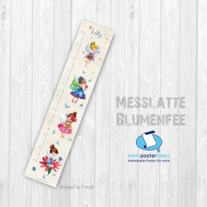 selbstklebende Messlatte | Blumenfee - Watercolor  | Wandtattoofolie, Kindermesslatte, Messleiste für Kinderzimmer - Handarbeit kaufen