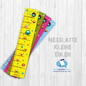 selbstklebende Messlatte | bunte Eulen | Wandtattoo Kindermesslatte, Messleiste für Kinderzimmer   - Handarbeit kaufen