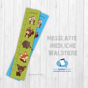 selbstklebende Messlatte | niedliche Waldtiere | Wandtattoo Kindermesslatte, Messleiste für Kinderzimmer   - Handarbeit kaufen