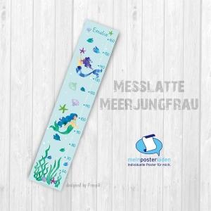 selbstklebende Messlatte | Meerjungfrau - Watercolor  | Wandtattoofolie, Kindermesslatte, Messleiste für Kinderzimmer  - Handarbeit kaufen
