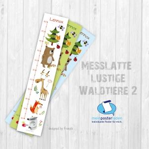 selbstklebende Messlatte | lustige Waldtiere 2 | Wandtattoo Kindermesslatte, Messleiste für Kinderzimmer