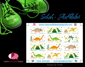 24 Schuhaufkleber | Dinos + Schutzfolie - personalisierbar | Namensaufkleber, Schuhetiketten - Handarbeit kaufen