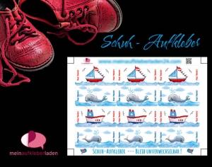 24 Schuhaufkleber | Schiffe - Wale + Schutzfolie - personalisierbar | Namensaufkleber, Schuhetiketten  - Handarbeit kaufen