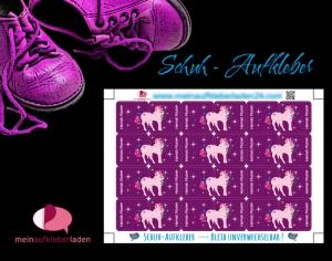24 Schuhaufkleber | Einhorn mit Sternchen - lila  + Schutzfolie - personalisierbar | Namensaufkleber, Schuhetiketten  - Handarbeit kaufen