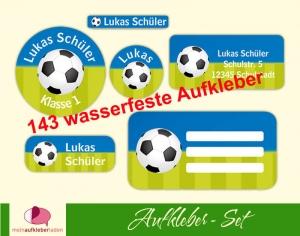 Schulaufkleberset  | Fußball blau-grün - 143 Aufkleber - personalisierbar | Namensaufkleber, Schuletiketten  - Handarbeit kaufen