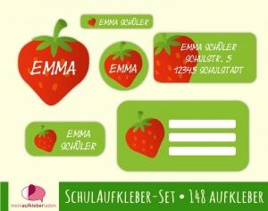 Schulaufkleberset  | Erdbeere - 143 Aufkleber - personalisierbar | Namensaufkleber, Schuletiketten  - Handarbeit kaufen