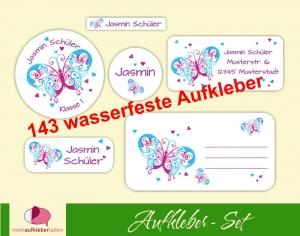 Schulaufkleberset  | Schmetterlinge weiß - 143 Aufkleber - personalisierbar | Namensaufkleber, Schuletiketten