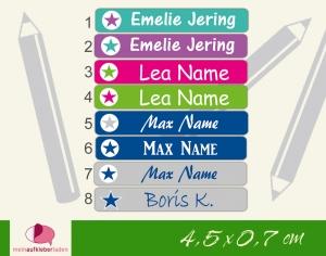 24 Stifteaufkleber | Sterne - personalisierbar | schmale Namensaufkleber, Schuletiketten
