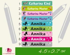 24 Stifteaufkleber | Pferde - personalisierbar | schmale Namensaufkleber, Schuletiketten