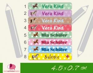 24 Stifteaufkleber | Ponys - personalisierbar | schmale Namensaufkleber, Schuletiketten