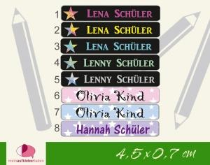 24 Stifteaufkleber | Sterne 2- personalisierbar | schmale Namensaufkleber, Schuletiketten