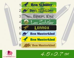 24 Stifteaufkleber | Dinos - personalisierbar | schmale Namensaufkleber, Schuletiketten