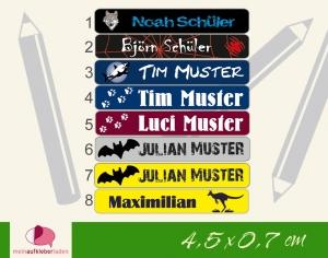 24 Stifteaufkleber | Wildtiere - personalisierbar | schmale Namensaufkleber, Schuletiketten