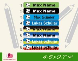 24 Stifteaufkleber | Fußball - personalisierbar | schmale Namensaufkleber, Schuletiketten