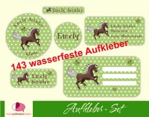 Schulaufkleberset  | Pferde Sternchen - grün - 143 Aufkleber - personalisierbar | Namensaufkleber, Schuletiketten