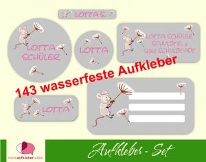 Schulaufkleberset  | Maus - grau - 143 Aufkleber - personalisierbar | Namensaufkleber, Schuletiketten  - Handarbeit kaufen