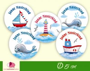 30 Namensaufkleber | Leuchtturm - Wale - Schiffe | rund - personalisierbar | Namensetiketten, Schuletiketten   - Handarbeit kaufen