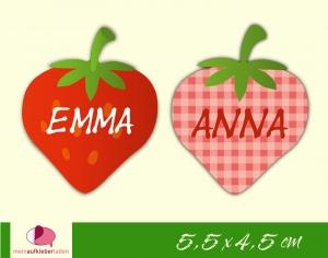 20 Form - Namensaufkleber   Erdbeere   personalisierbar   Namensetiketten, Schuletiketten   - Handarbeit kaufen