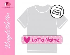 48 Bügeletiketten 1 x 5 cm | Herz - rosa | permanent,  personalisierbar, dauerhafte Kleidungsetiketten zum aufbügeln