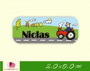 52 Namensaufkleber  | Traktor | eckig - personalisierbar | Namensetiketten, Schuletiketten  - Handarbeit kaufen