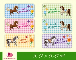 24 Namensaufkleber  | Pony | eckig - personalisierbar | Namensetiketten, Schuletiketten  - Handarbeit kaufen
