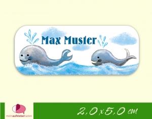 52 Namensaufkleber  | Wale | eckig - personalisierbar | Namensetiketten, Schuletiketten  - Handarbeit kaufen
