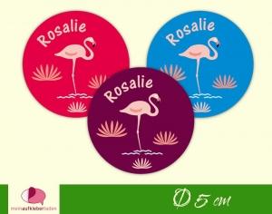 30 Namensaufkleber | Flamingo | runde Namensetiketten, Schuletiketten  - Handarbeit kaufen