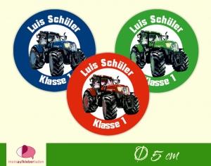 30 Namensaufkleber | Traktor | runde Namensetiketten, Schuletiketten - Handarbeit kaufen