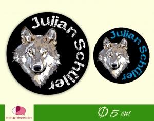 30 Namensaufkleber | Wolf | runde Namensetiketten, Schuletiketten