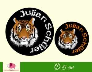 30 Namensaufkleber | Tiger | runde Namensetiketten, Schuletiketten  - Handarbeit kaufen