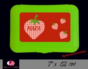 Aufkleber für Brotdosen | Erdbeere | personalisierbar | große Namensetiketten, Schuletiketten  - Handarbeit kaufen