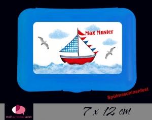 Aufkleber für Brotdosen | Segelschiff | personalisierbar | große Namensetiketten, Schuletiketten  - Handarbeit kaufen